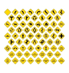 big set yellow road signs on white vector image