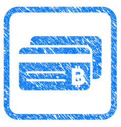 bitcoin bank cards framed stamp vector image