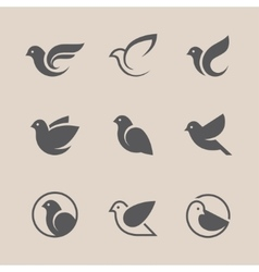 Black bird icons set vector