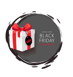 black friday emblem gift box with sale price tag vector image
