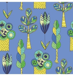 Blue children pattern with trees vector image