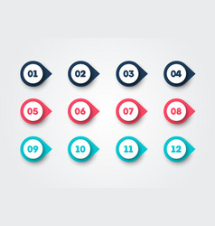 bullet points in different colors for presentation vector image