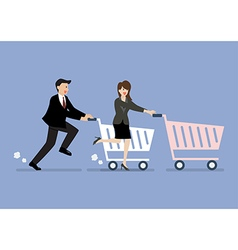 Business man and woman are shopping with a cart vector image