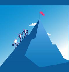 Businessmen climb mountain success teamwork vector