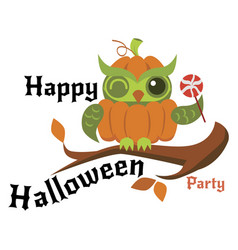 Cartoon logo halloween orange pumpkin owl flat vector
