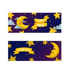 cartoon moon moonlight star character in night vector image