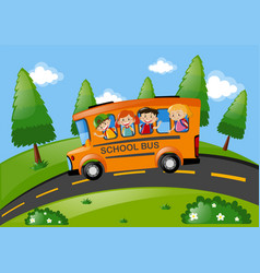 Children riding on school bus in the park vector