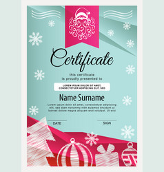 christmas certificate turquoise red triangle vector image