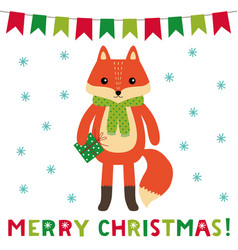 christmas greeting card with a cute cartoon fox vector image