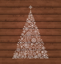 Christmas pine made of snowflakes vector image