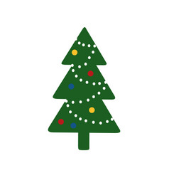 Christmas tree decorated with garlands and vector
