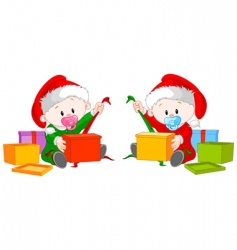 Christmas twins open gift vector image