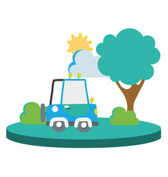 colorful agrimotor car in the city with tree and vector image