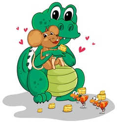 Crocodile and mouse vector