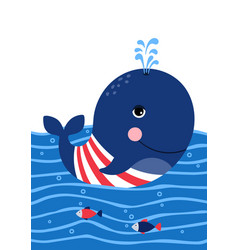 Cute whale in a sailor suit poster for baby room vector