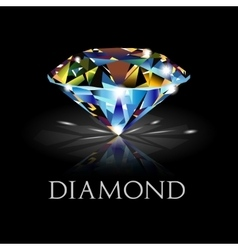 Diamond on black background vector