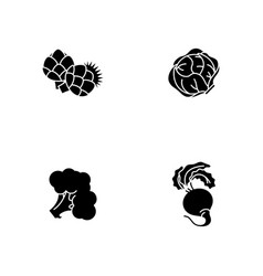Dieting black glyph icons set on white space vector