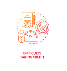 Difficulty taking credit red gradient concept icon vector