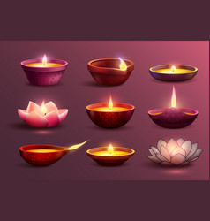 diwali festive candles set vector image