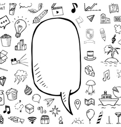 Doodle speech bubble with hand drawn vector