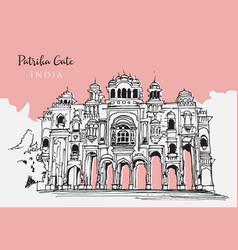 drawing sketch patrika gate in india vector image