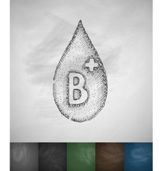 Drop of blood B icon vector