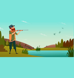 duck hunting background cartoon of vector image