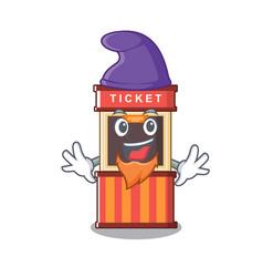 Elf ticket booth edge mascot table vector