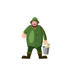 Fisherman icon in cartoon style vector image