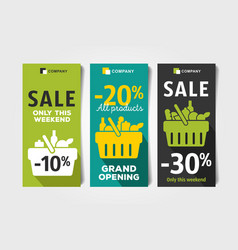 Flyers set for grocery store with shopping basket vector