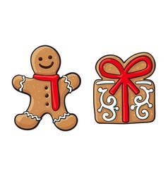 Gingerman present christmas gingerbread cookies vector