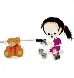 Girl shoots teddy vector
