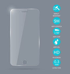 glass screen protector for smartphone vector image