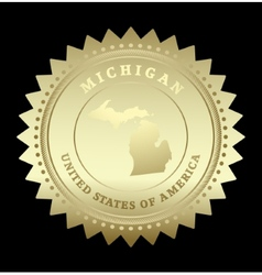 Gold star label Michigan vector