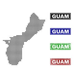 Guam island map in dot style with grunge title vector