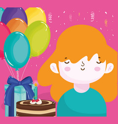 Happy birthday girl with cake gift box and vector