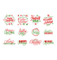 happy holidays merry christmas joys lettering text vector image