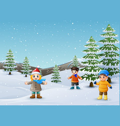 happy kids playing in winter landscape vector image