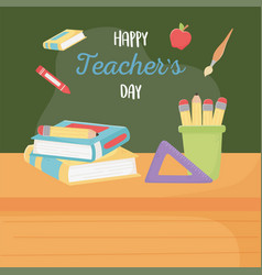 Happy teachers day chalkboard pencils in cup and vector