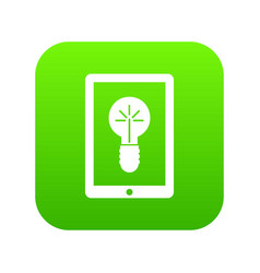 idea lamp on gadget screen icon digital green vector image