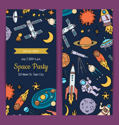 Invitation for birthday party with space vector