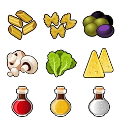 Italian food icon set vector image