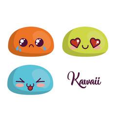 Kawaii cartoon faces icon vector