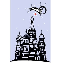 Laika over Red Square vector image