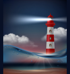 lighthouse in ocean night marine landscape vector image