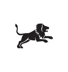 Lion Jumping Silhouette Side Retro vector