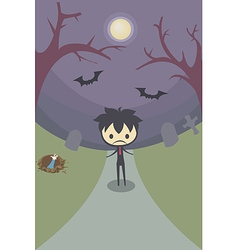 Lonely boy in grave yard at night under moonlight vector