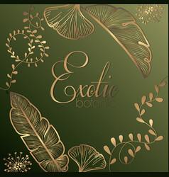 Luxury exotic botany golden decoration vector