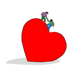 Man helping his friend to climb on big red heart vector