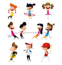 Many children doing sports vector